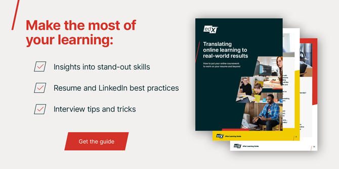 make the most of your learning: insights into stand-out skills, resume and linkedin best practices, interview tips and tricks. Get the guide